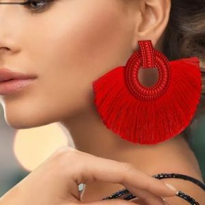 New Anthro bohemian Red tassel earrings